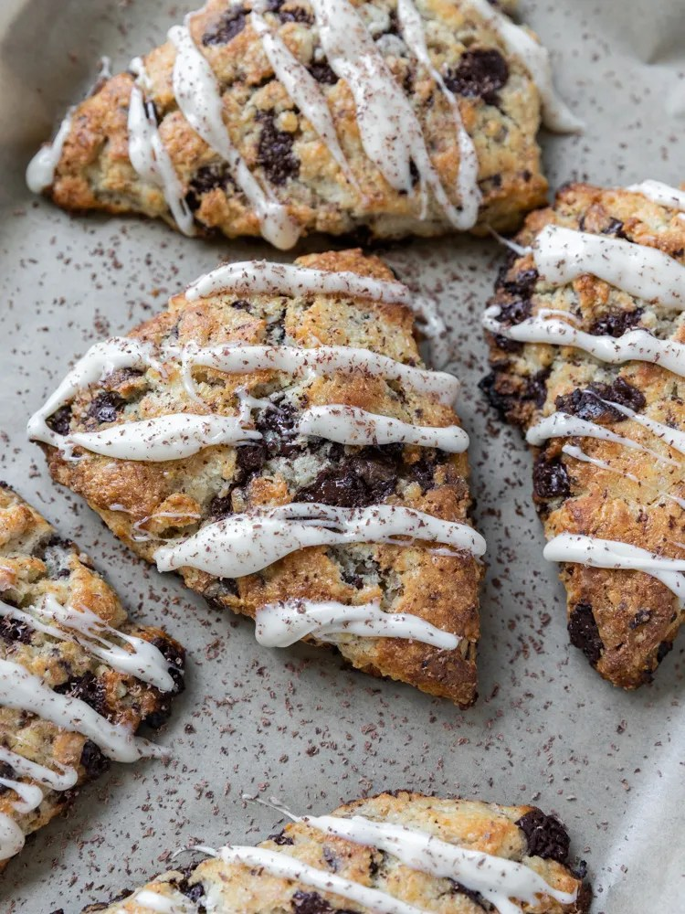 Looking down on a pan of chocolate chip scones