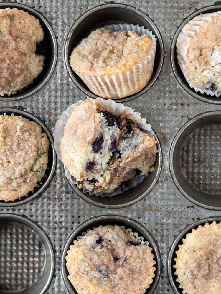 Looking down on a muffin tin with gluten-free muffins inside.