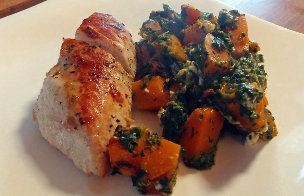 Low Carb Kürbis Gemüse mit Hähnchenbrust