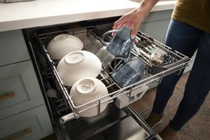 fingerprint resistant quiet dishwasher with 3rd rack large capacity
