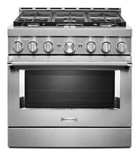 kitchenaid 36 smart commercial style gas range with 6 burners