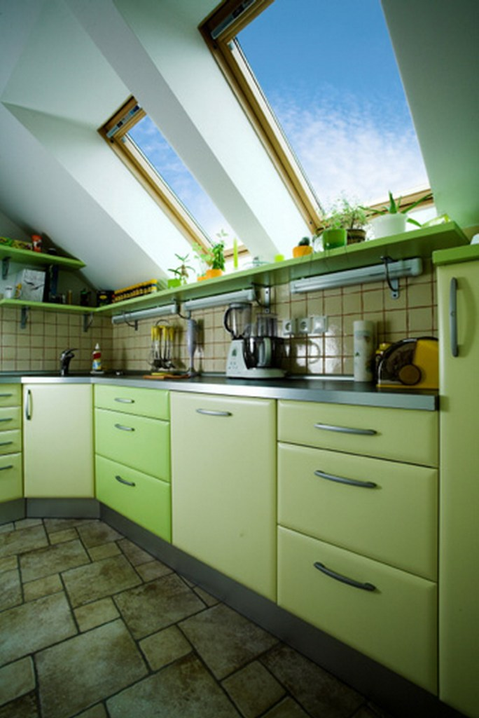 Eco-friendly green kitchen with lovely window lighting