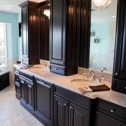 Large, elegant espresso-stained wood penthouse-style bathroom vanity with granite counter tops for Northern Virginia bathroom remodel