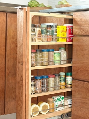 perfectly organized and hidden spice rack with custom kitchen cabinets in northern virginia home - Kitchen Cabinets Northern Virginia