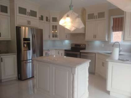 Completed kitchen with island