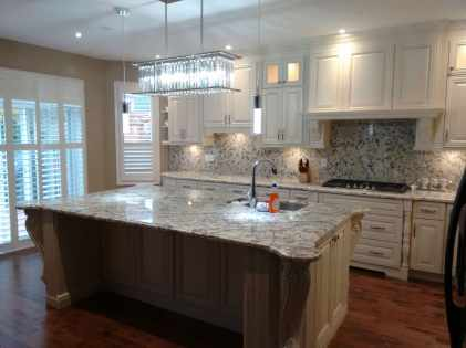 Completed kitchen installation with island