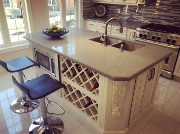 Kitchen Island with dual sink, wine rack and microwave stand built in