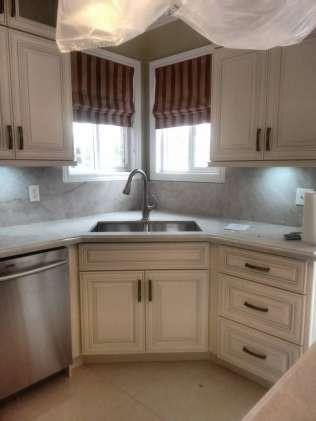 Large corner kitchen sink installation