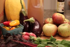 spaghetti squash, eggplant, peppers, radishes, chard, apples & cider