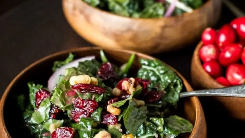 Cranberry Walnut Kale Salad with Fresh Cranberry Vinaigrette | Simple Sundays