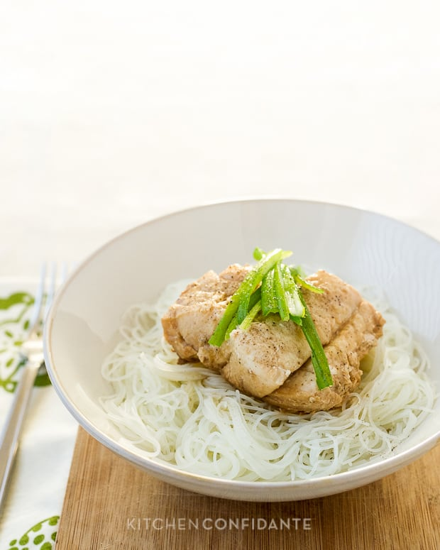 Steamed Cod with Ginger and Scallions | Kitchen Confidante | On Rice Noodles