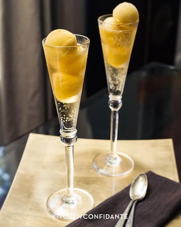 Sparkling Mango Sorbet Floats | Kitchen Confidante | Flutes