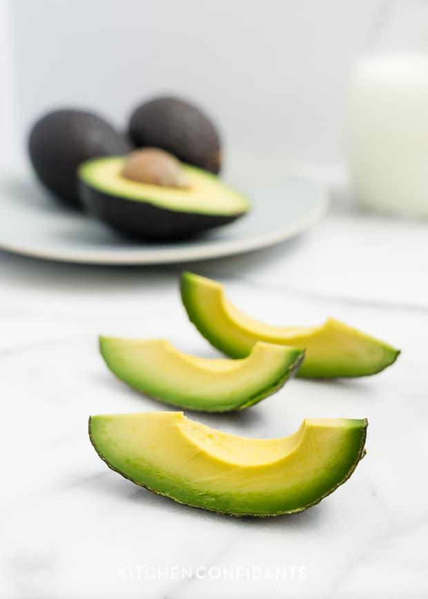 Avocado Milk | www.kitchenconfidante.com | Sliced Avocados