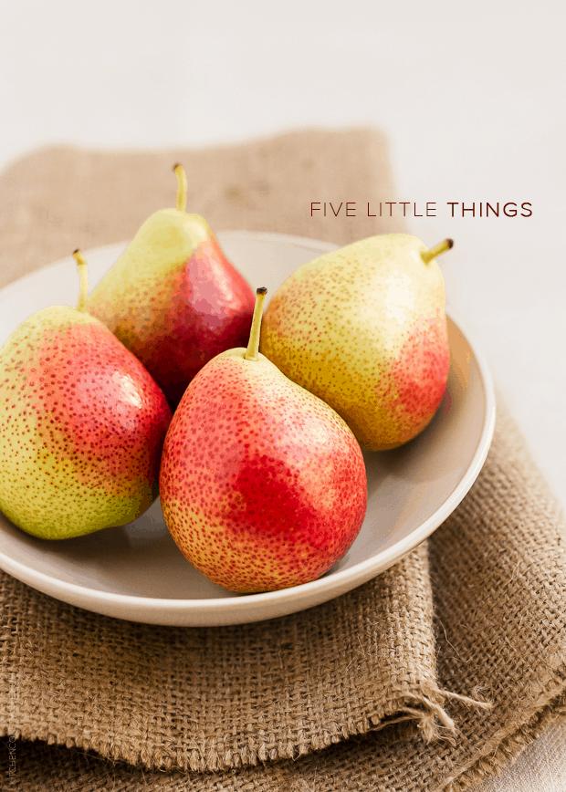 Five Little Things - September 13, 2013 | www.kitchenconfidante.com | Bowl of Pears