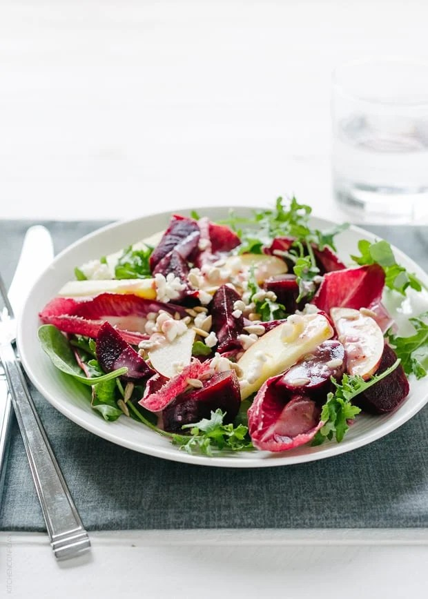 Apple Beet Salad with Endive and Baby Greens | www.kitchenconfidante.com
