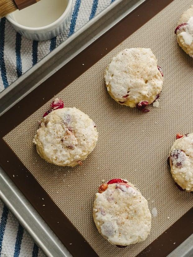 Cherry Nutella Scones | Scones on Baking Sheet | www.kitchenconfidante.com