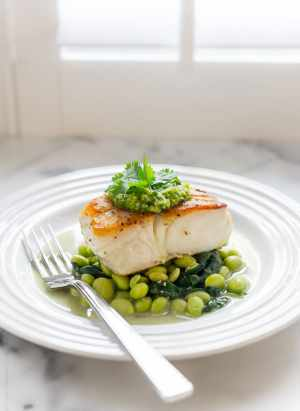 Pan-Roasted Halibut with Cilantro Edamame Pesto | www.kitchenconfidante.com