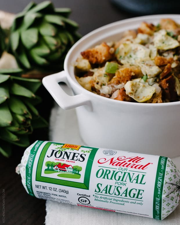 Artichoke Sourdough Stuffing with Jones Sausage | www.kitchenconfidante.com | Jones Dairy Farm Original Sausage is a wholesome addition to a stuffing perfect for Thanksgiving.