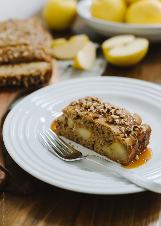 Apple Pecan Loaf Cake | www.kitchenconfidante.com | Slices of sweet apple make this cake wonderful, and is drizzled with caramel and pecans.