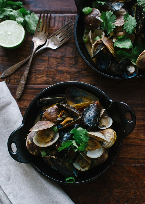 Steamed Clams and Mussels in Coconut Curry Broth | www.kitchenconfidante.com | A light and satisfying meal.