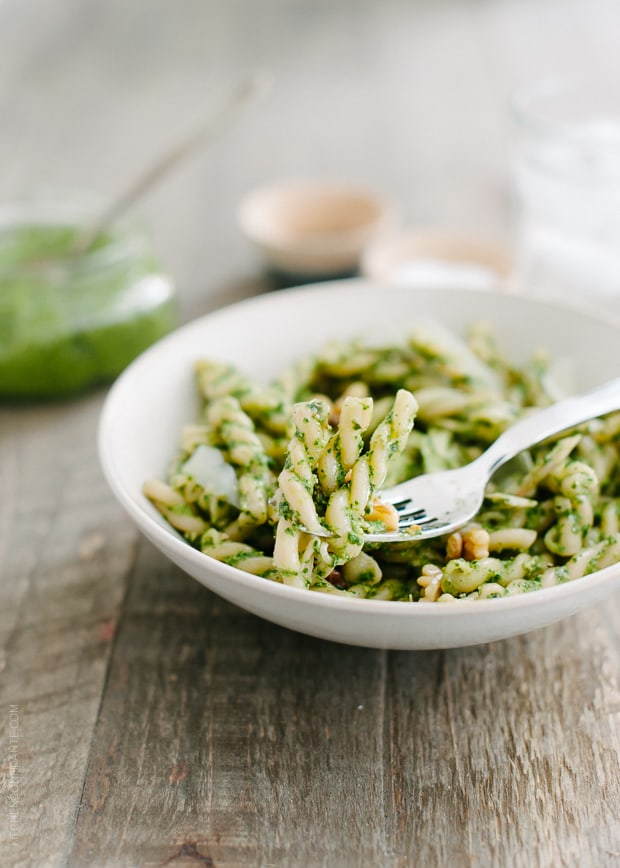 Swiss Chard Walnut Pesto Pasta   www.kitchenconfidante.com   A simple dish, perfect for busy nights or lazy summer meals.