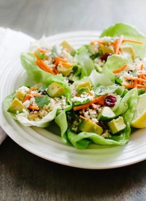 Quinoa Salad Lettuce Cups   www.kitchenconfidante.com