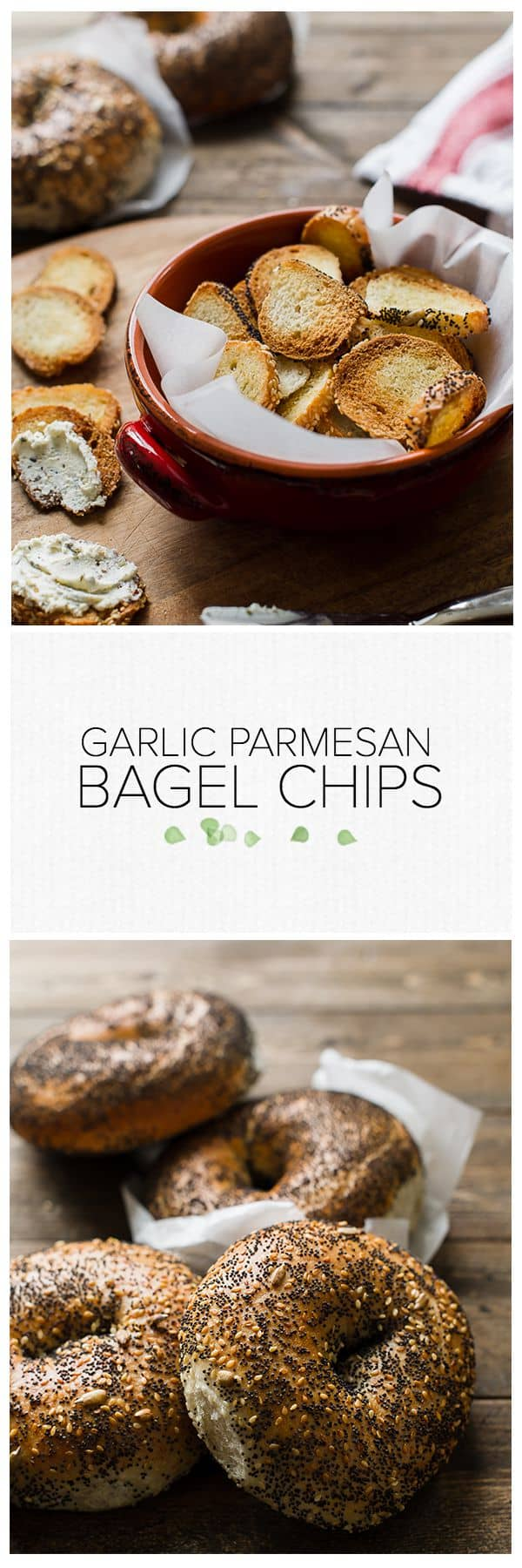 Garlic Parmesan Bagel Chips | www.kitchenconfidante.com | Extra bagels? Make bagel chips!