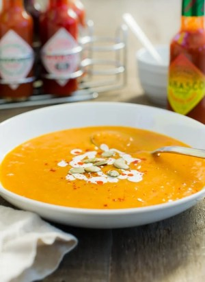Habanero Spiced Pumpkin Soup | www.kitchenconfidante.com | Warm up with a creamy bowl of this spicy soup!