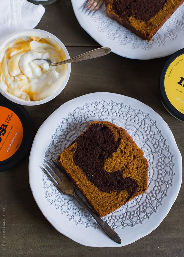 Use Chocolate Marble Pumpkin Bread in a layered treat - make Pumpkin Bread Parfaits!