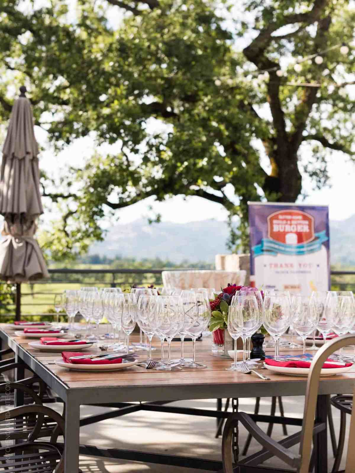 Outdoor table setting at the Sutter Home 25th Annual Build a Better Burger Cookoff.