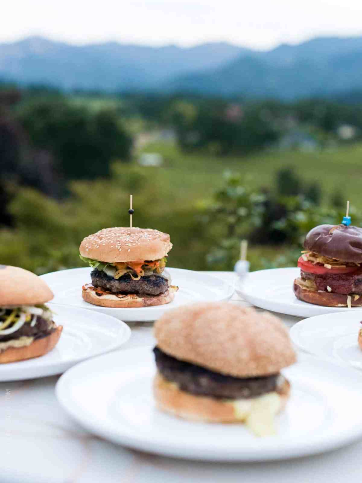 Finalist burgers at the Sutter Home 25th Annual Build a Better Burger Cookoff.