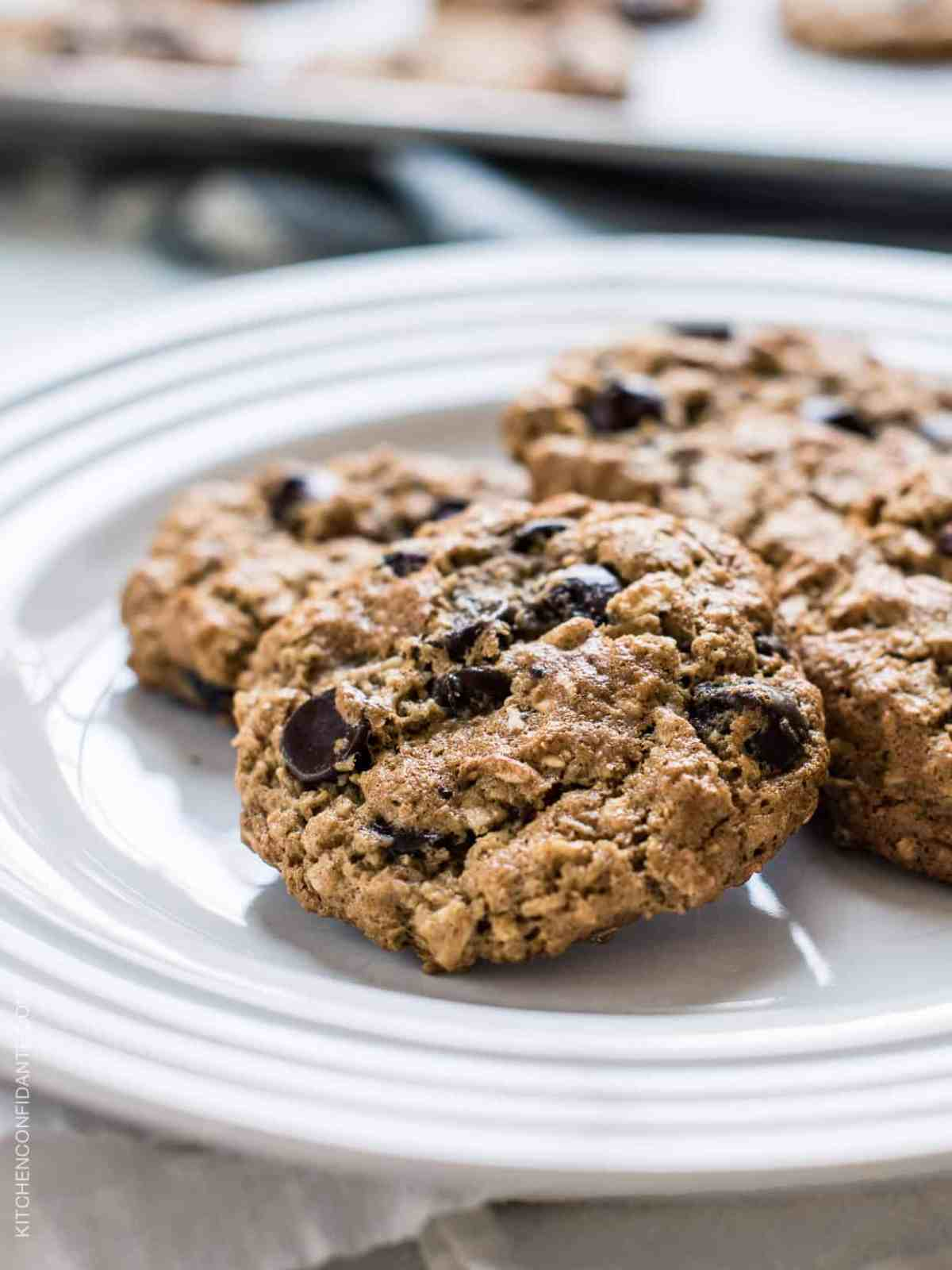 Almond Butter Oatmeal Cookies on a plate.