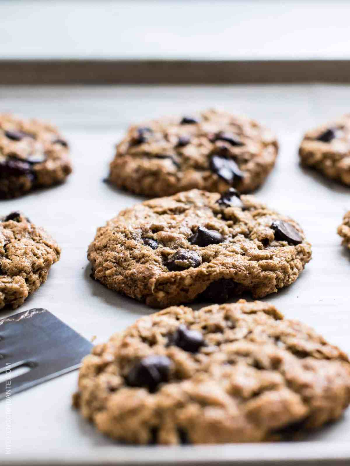 Chewy, gooey Almond Butter Oatmeal Cookies. Gluten-free and dairy-free recipe.