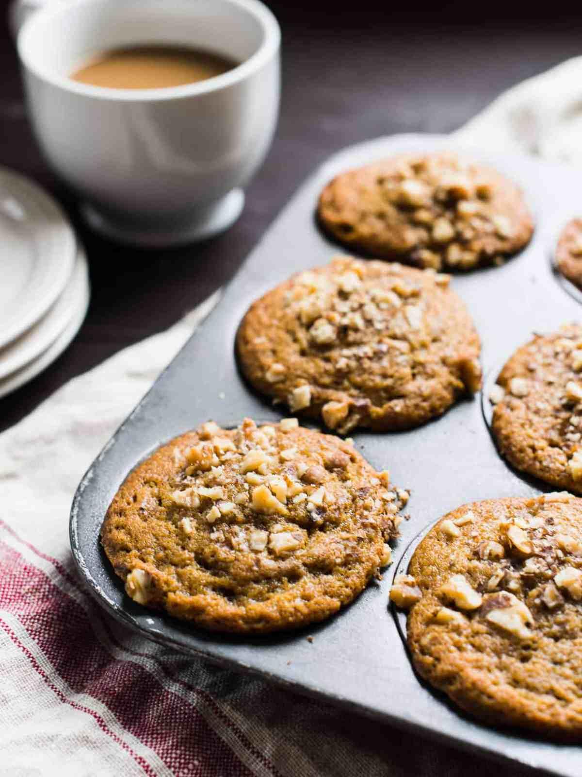 Pumpkin Cinnamon Chip Walnut Muffins | www.kitchenconfidante.com