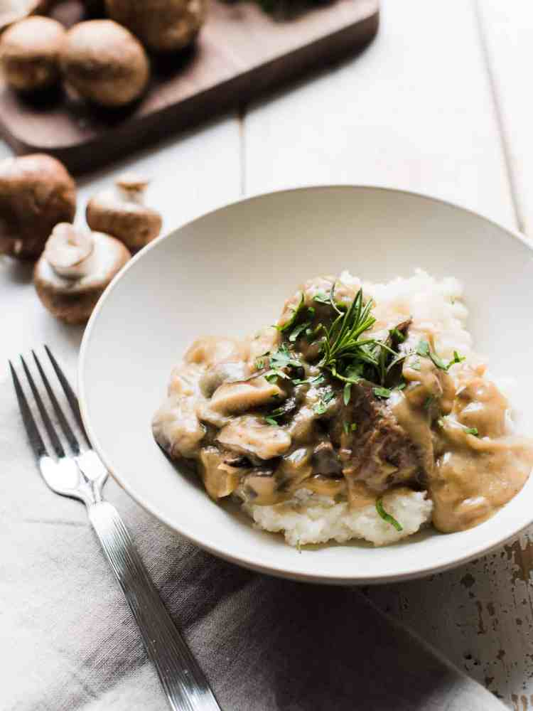 Swiss Veal and Wild Mushroom Stew in a serving dish.
