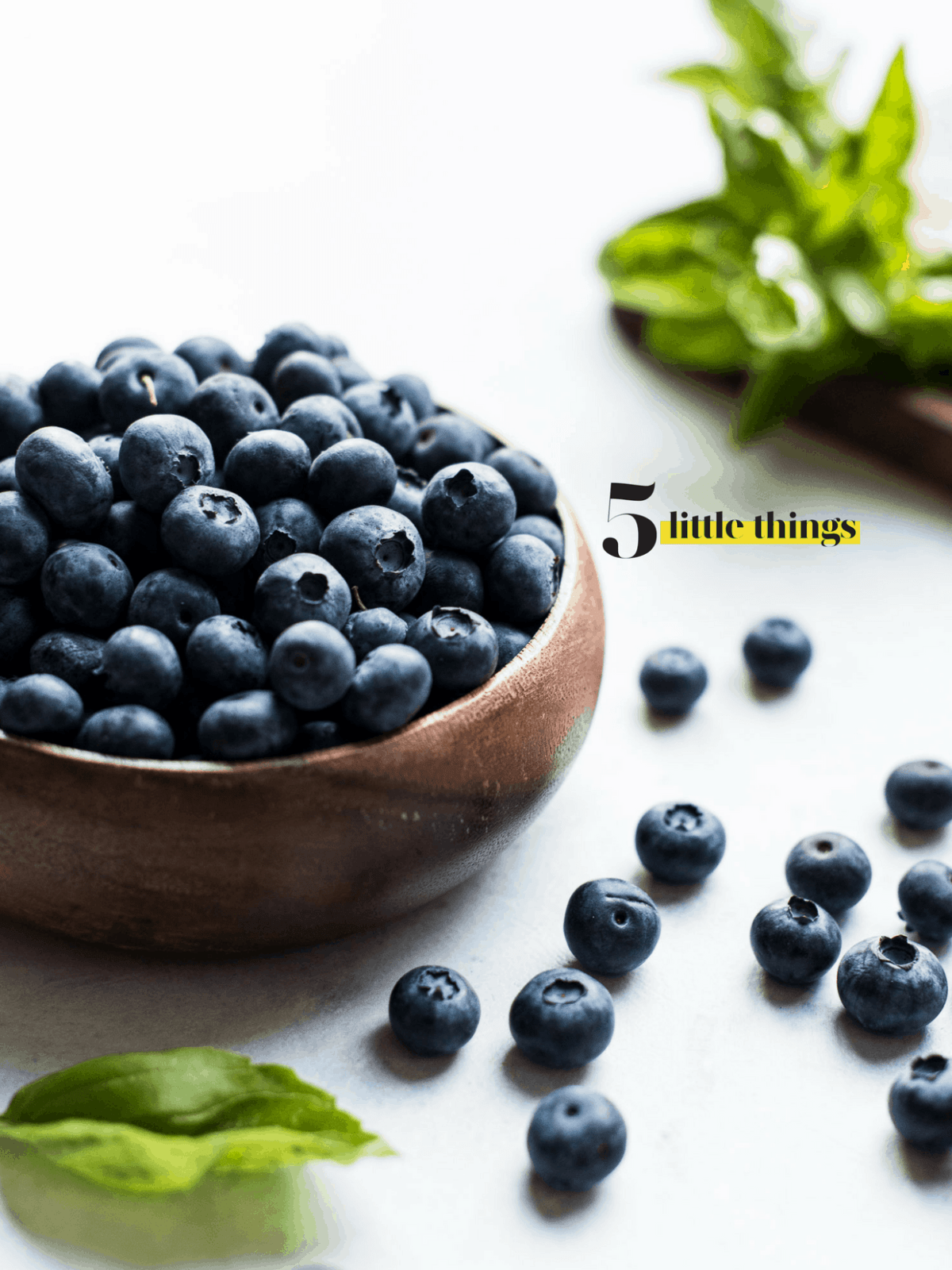 Wooden bowl of blueberries with blueberries on the counter.