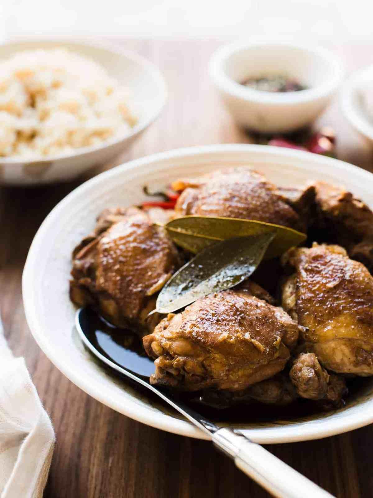 Filipino Chicken Adobo served over rice.
