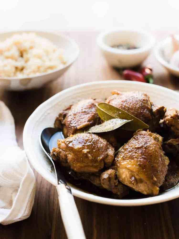 Close up view of homemade Filipino Chicken Adobo