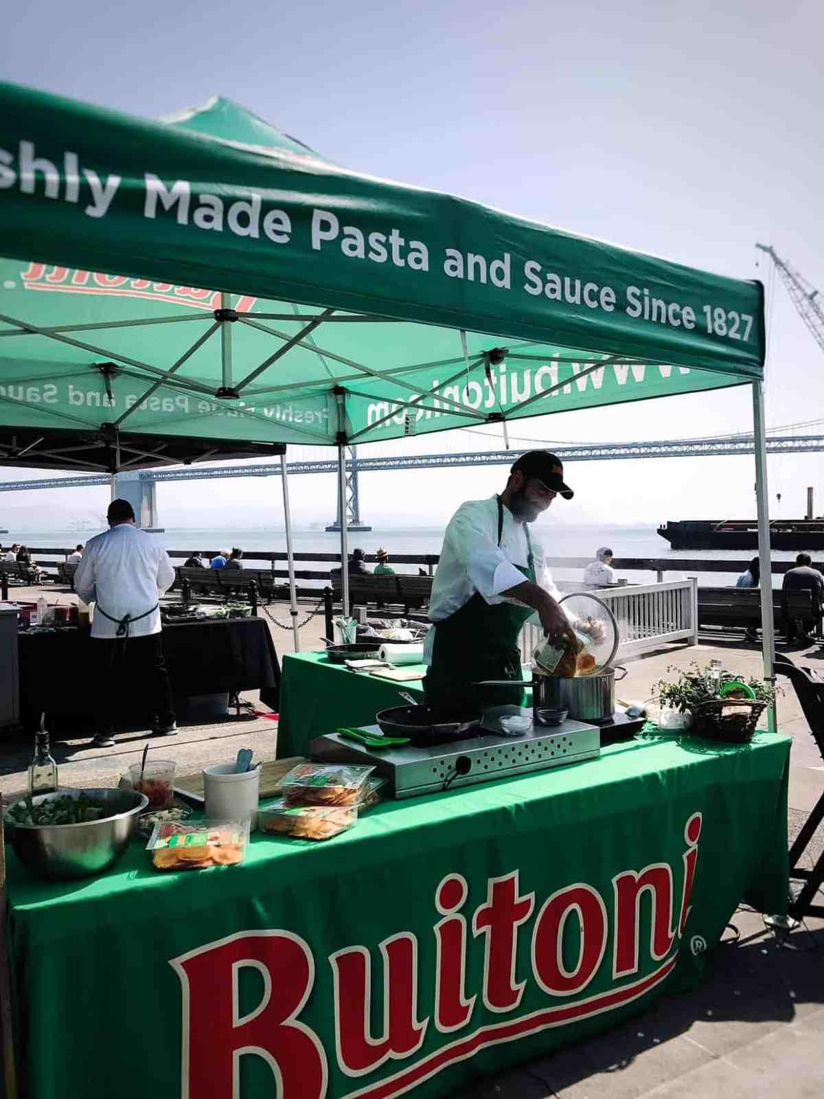 Buitoni recipe demo at Ferry Building Farmer's Market in San Francisco.