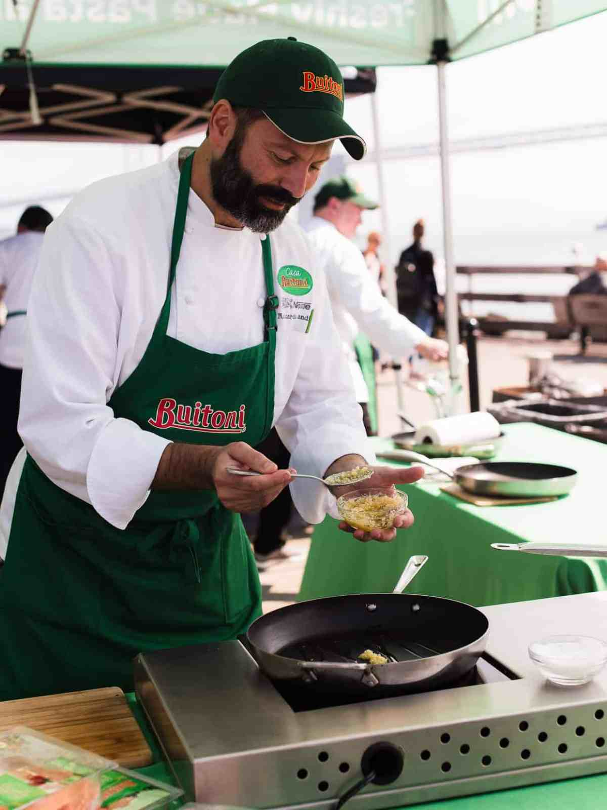 Buitoni Chef Riccardo Landi transforming Buitoni refrigerated vegetable and herb infused pastas into a simple dish using ingredients sourced from the farmer's market.