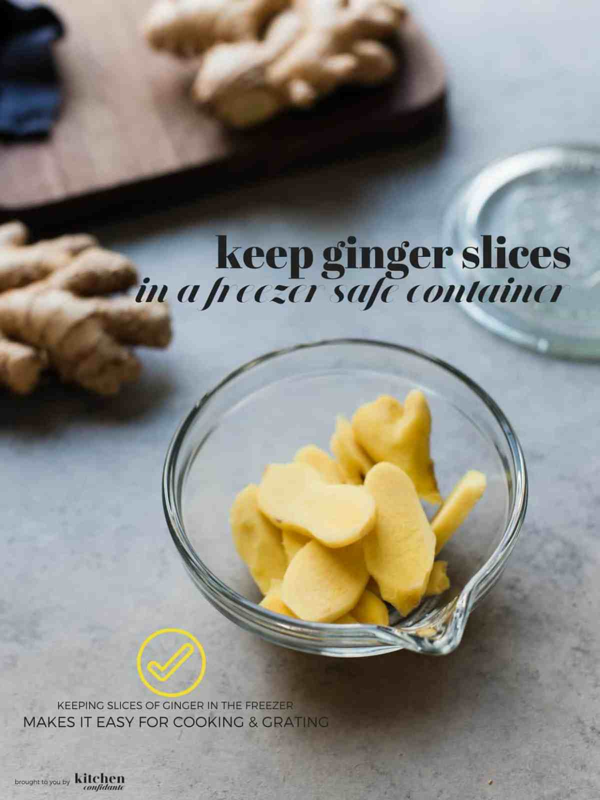 Fresh ginger root peeled and sliced in a glass bowl.