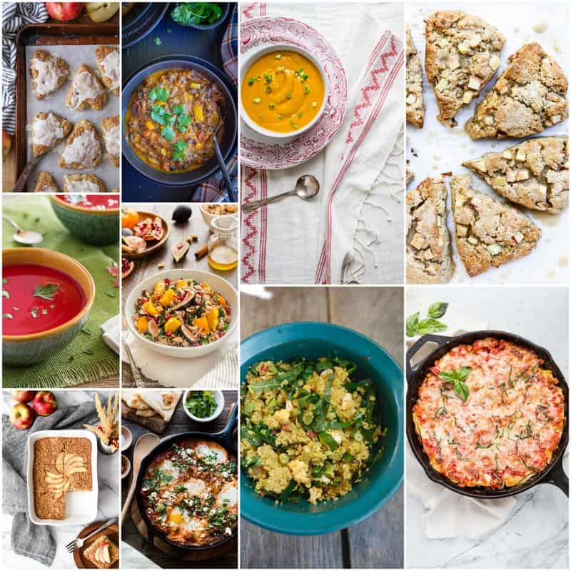 Grid of recipe photos featuring fall recipes such as scones and soup.