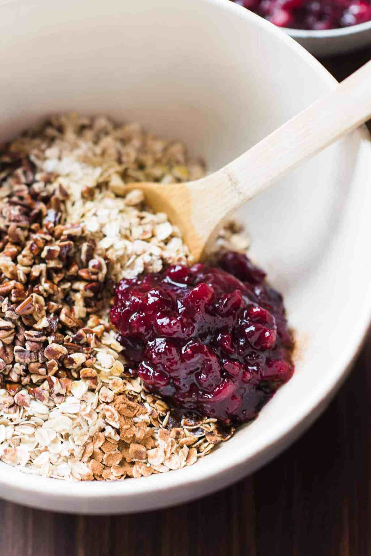 Mix of ingredients to make Cranberry Sauce Granola with cranberry sauce leftovers.