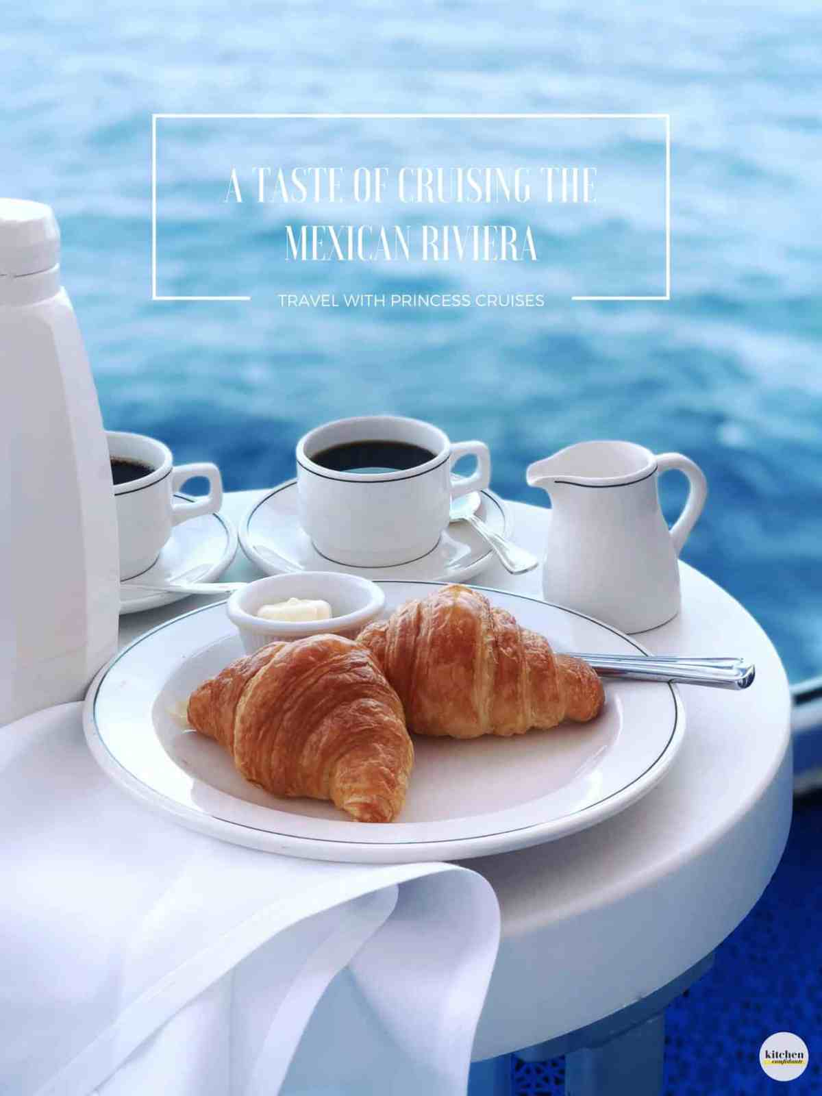 White plate filled with croissants on board the Ruby Princess cruise ship.