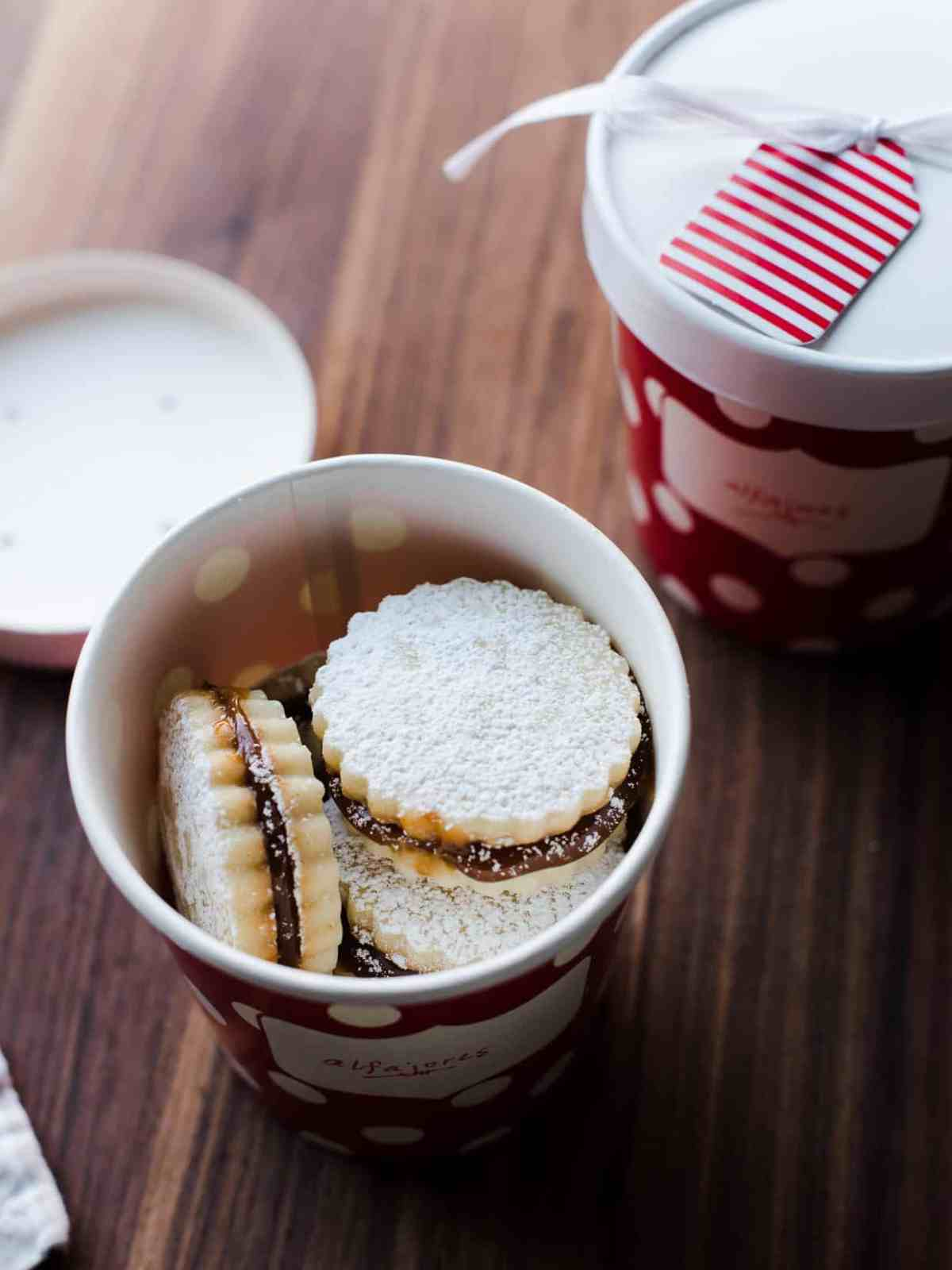 Homemade alfajores cookies packaged for holiday gifts.
