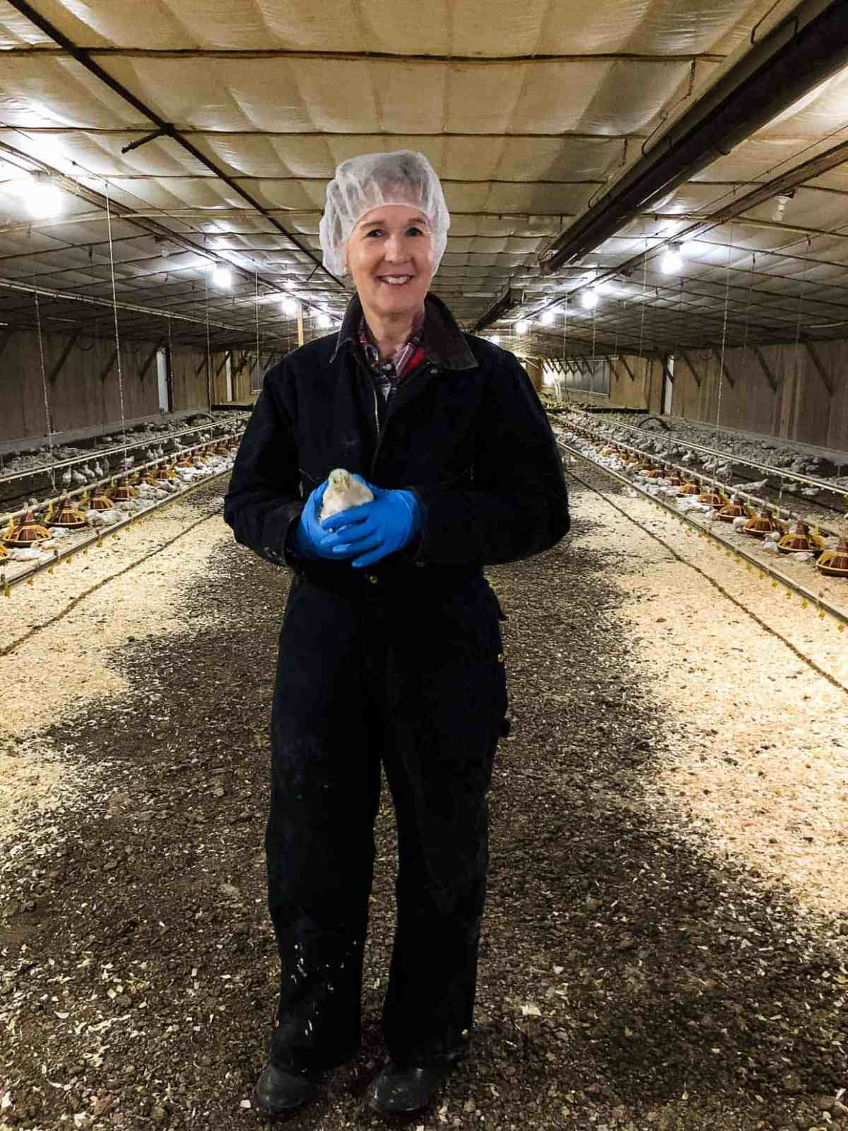 Jenny Rhodes in her chicken farm in Maryland. #sponsored National Chicken Council