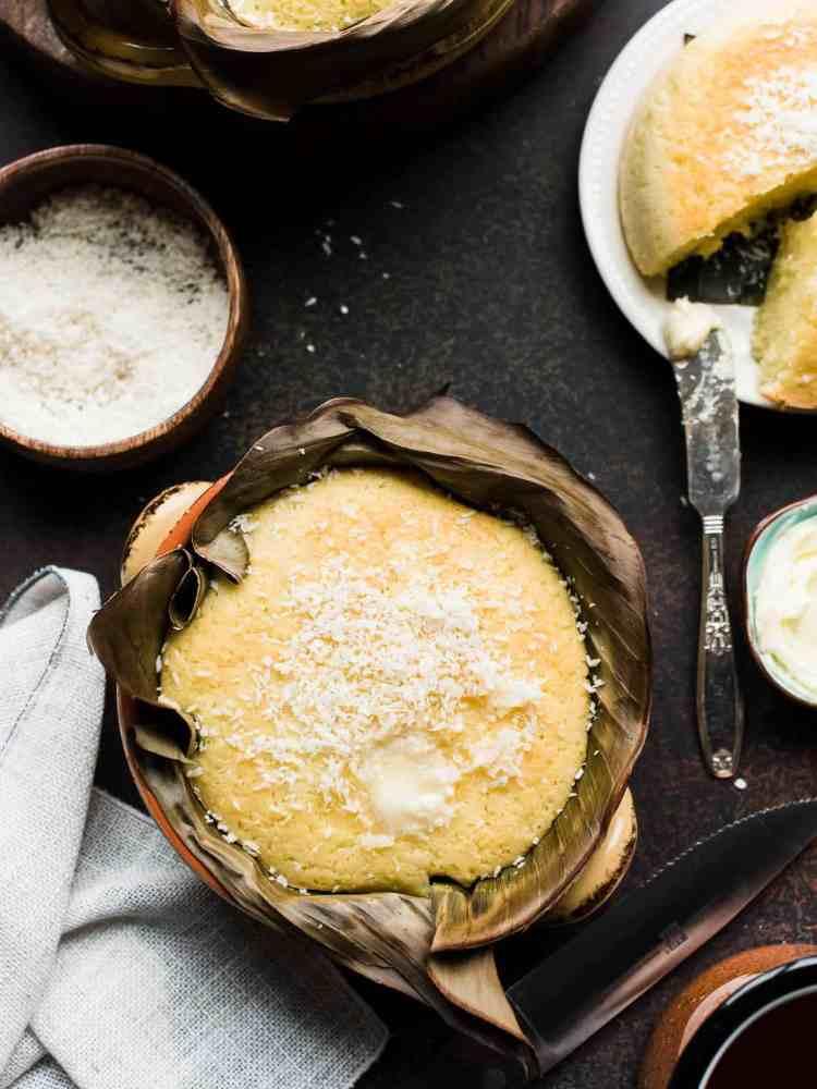 overhead image of bibingka, Filipino Coconut Rice Cakes.
