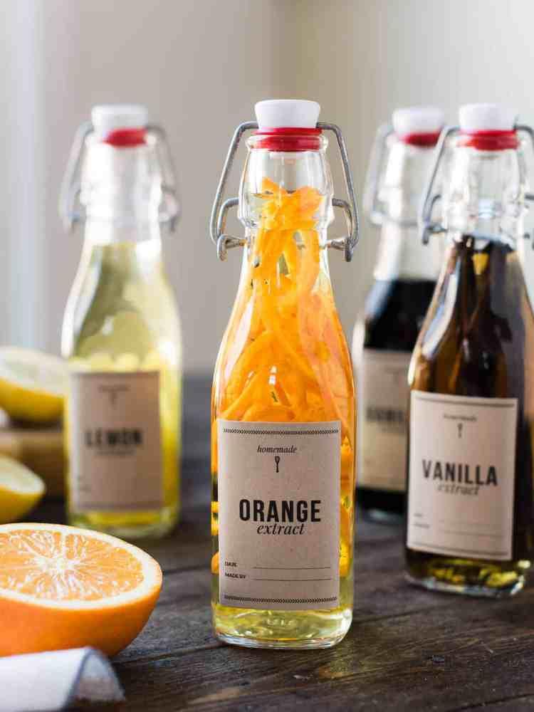 Glass bottle of DIY orange extract.