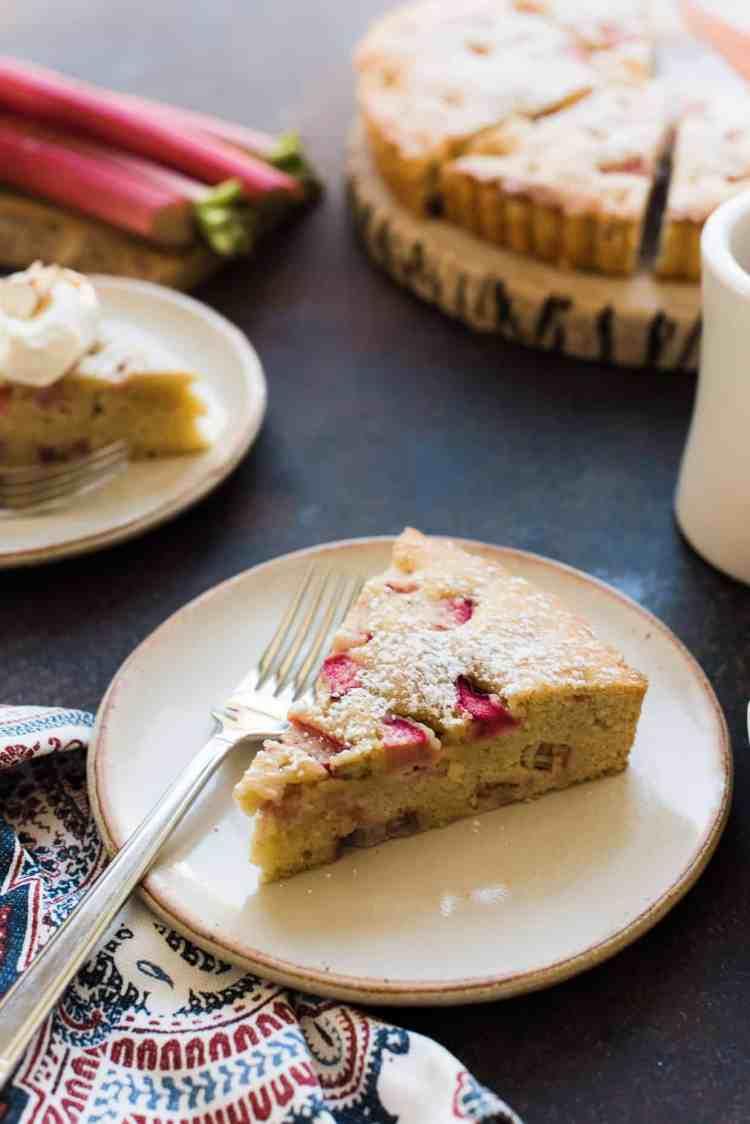 Slices of Rhubarb Frangipane Cake.