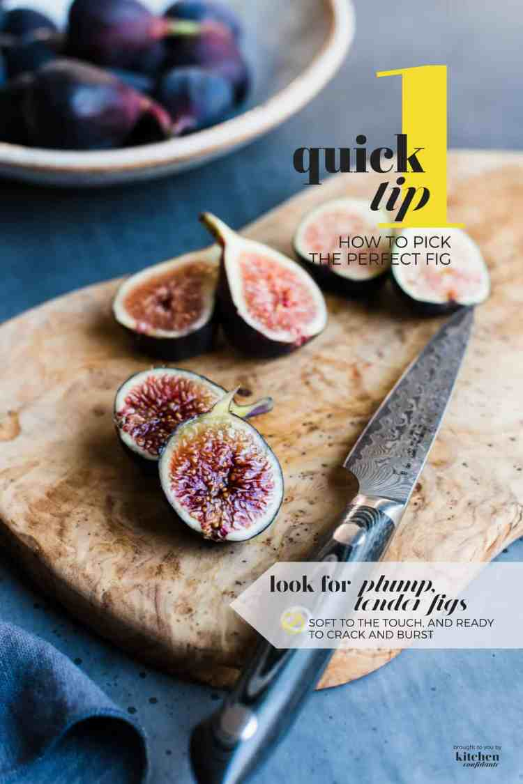 Perfectly ripe fig on a cutting board - learn how to pick the perfect fig with One Quick Tip.